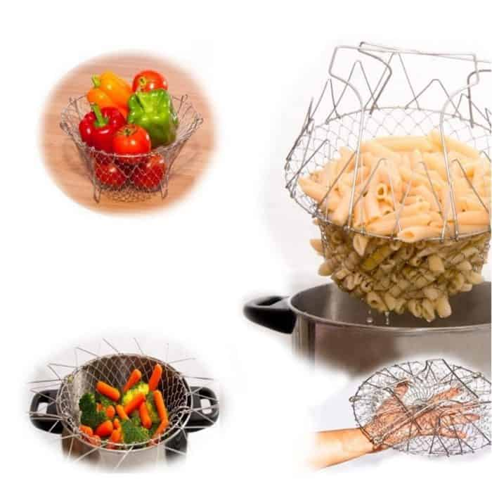 Stainless Steel Chef Basket Foldable Strainer